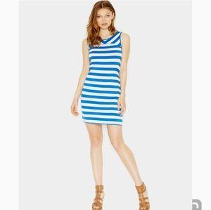 KENSIE FRENCH TERRY DRESS BLUE & WHITE STRIPES NWT